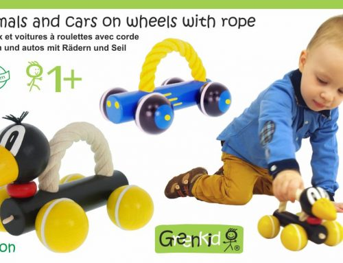 Dřevěná autíčka a zvířátka s úchopovým lanem