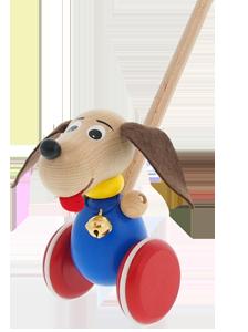 Dřevěná hračka - strkadlo Greenkid. Dřevěný - Pejsek s rolničkou. Česká výroba kvalitních a bezpečných dřevěných hraček Abafactory.