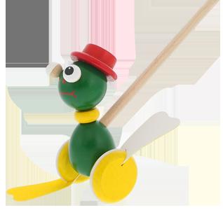 Dřevěné kvalitní hračky Greenkid. Dřevěné strkadlo-plácačka Žabka. Český výrobek Abafactory bezpečný pro děti.
