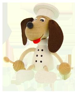 Dřevěná figurka Greenkid. Dřevěný Pejsek - kuchař od Abafactory českého výrobce kvalitních dřevěných hraček a dekorací pro děti.