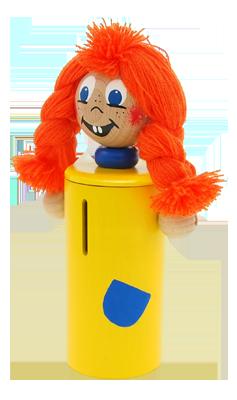 Pipi - dřevěná pokladnička Greenkid. Dřevěná hračka a dekorace pro děti s originální ruční malbou od Abafactory českého výrobce dřevěných hraček.