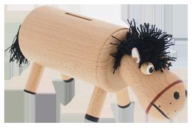 Greenkid dřevěné hračky a dekorace pro děti od jednoho roku. Dřevěná pokladnička - koník natur. Česká výroba kvalitních dřevěných hraček Abafactory.