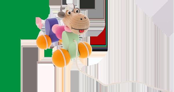 Kvalitní dřevěná tahací hračka Greenkid pro kluky i holky. Barevná dřevěná kravička od českého výrobce Abafactory.