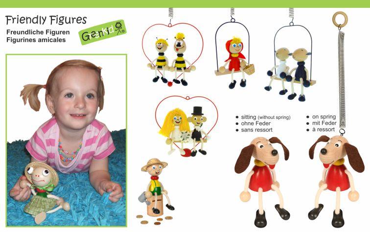 dřevěné figurky na pružině pro děti i dospělé - srdce - ženich a něvěsta - dárek