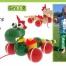 Dřevěné tahací hračky s pohybem Greenkid. Dřevěná zvířátka na kolečkách: dráček barevný a natur - nový design. český výrobek Abafactory pro děti od jednoho roku.