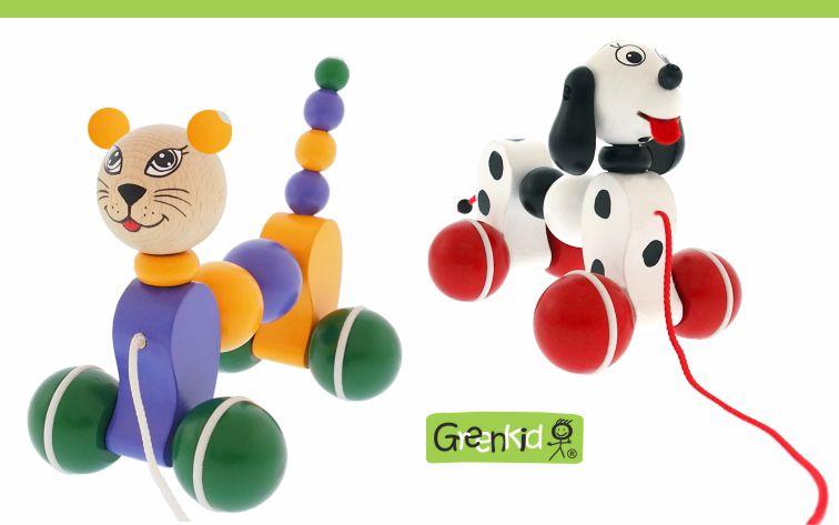 Dřevěné hračky Greenkid - tahací s pohybem. Dřevěná zvířátka na kolečkách - pejsek a kočička - český výrobek pro děti Abafactory.