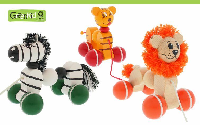 Dřevěné tahací hračky Greenkid. Dřevěná zvířátka na kolečkách pro radost dětí od českého výrobce dřevěných kvalitních a bezpečných hraček Abafactory. Zebra - tygr - lev.