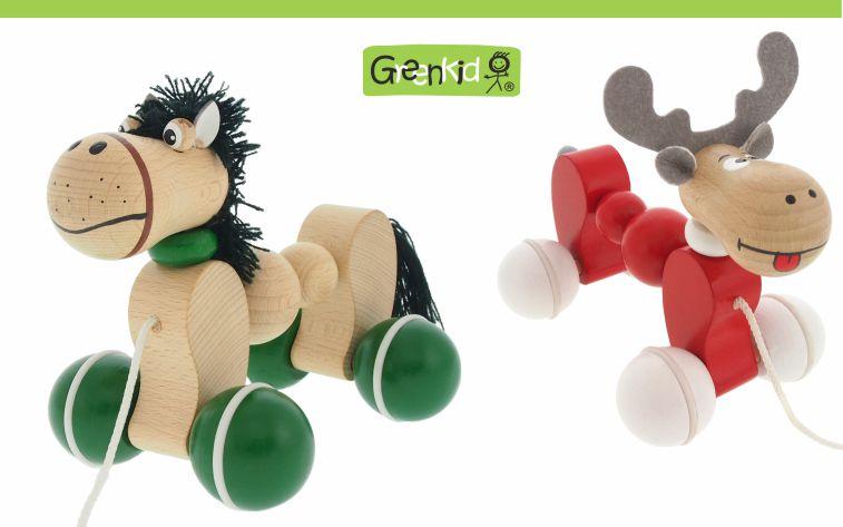 Dřevěné kvalitní a bezpečné tahací hračky Greenkid. Dřevěná zvířátka na kolečkách - koník a sob - pro kluky i holky od českého výrobce Abafactory.