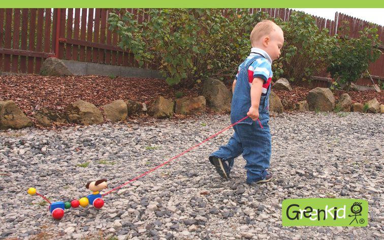Dřevěná tahací hračka s pohybem Greenkid. Dřevěný pejsek na kolečkách pro kluky a holky česká výroba kvalitních dřevěných hraček Abafactory.