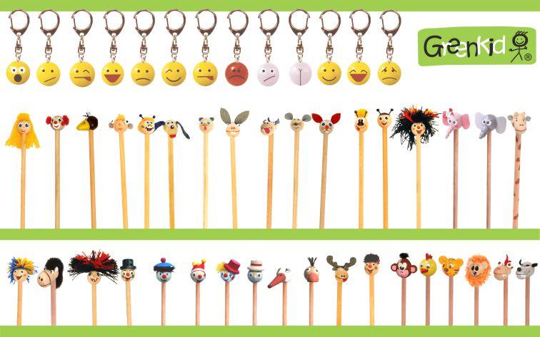 Dřevěné přívěsky smajlík. Dětské tužky - havran, pejsek, pes, kočička, kočka kravička, kráva, myška, myš, čmelák, beruška, sloník, slon, žirafa, koník, kůň, čáp, pštros, los, oslík, osel, opička, opice, kuřátko, kuře, tygřík, tygr, lvíček, lev, dráček, drak, vlk.