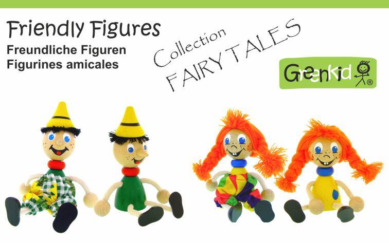 Dřevěné figurky značky Greenkid. Dřevěné pohádkové postavy: Pipi - Pinocchio. Abafactory - česká výroba kvalitních dřevěných hraček a dekorací pro děti.