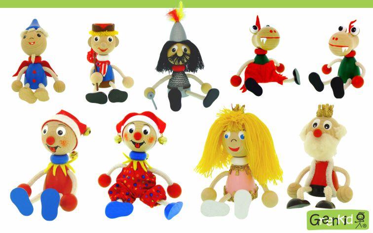 Dřevěné figurky značky Greenkid. Pohádkové postavy: Honza - rytíř - dráček - šašek - princezna - král. Dřevěné hračky a dekorace do dětského pokoje. Česká výroba kvalitních dřevěných hraček Abafactory.
