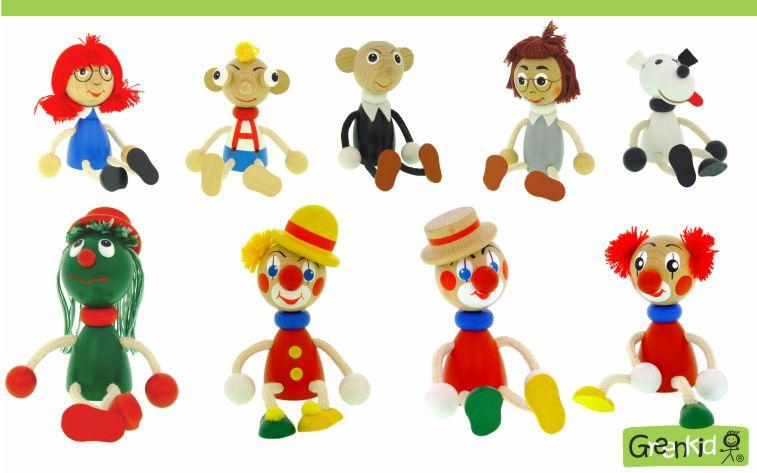 Dřevěné figurky značky Greenkid. Pohádkové postavy: mánička - hurvínek - spejbl - žeryk - hastrman - klaun. Dřevěné hračky a dekorace do dětského pokoje. Česká výroba kvalitních dřevěných hraček Abafactory.