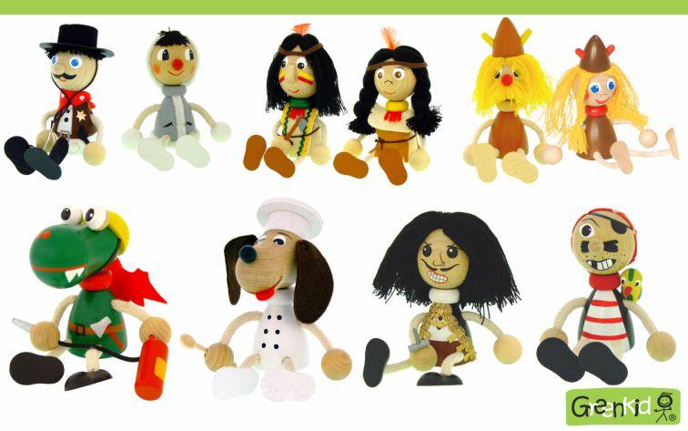 Dřevěné figurky a zvířátka Greenkid: kovboj - eskymák - indián - viking - dráček-hasič - pejsek-kuchař - pirát. Kvalitní dřevěná hračka a dekorace pro děti. Česká výroba bezpečných dřevěných hraček Abafactory.