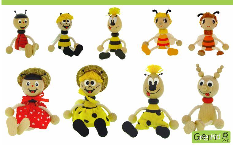 Dřevěná zvířátka - figurky Greenkid. Beruška - brouček - čmelák - včelka. Dřevěné hračky a dekorace do dětského pokoje. Kvalitní a bezpečné výrobky od Abafactory.