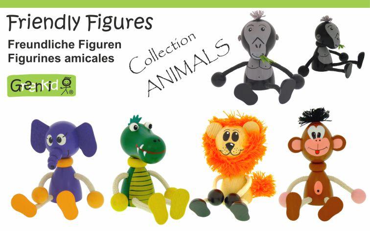 Dřevěné figurky Greenkid. Dřevěná zvířátka slon-opice-krokodýl-lev-gorila od Abafactory českého výrobce kvalitních dřevěných hraček a dekorací pro děti.