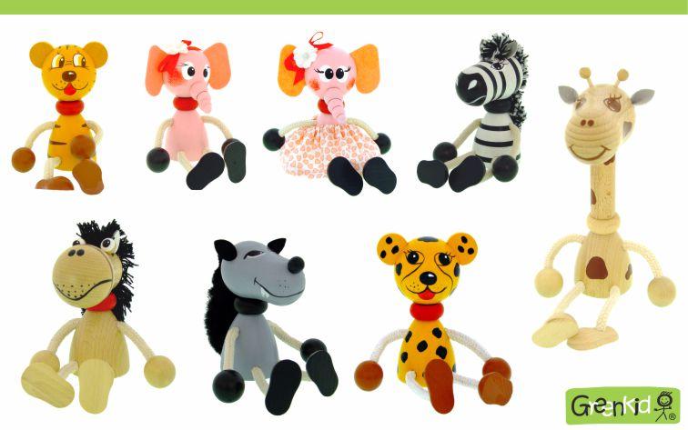 Dřevěné figurky značky Greenkid. Dřevěná zvířátka: koník - slonice - zebra - vlk - tygr - gepard - žirafa. Abafactory - česká výroba kvalitních dřevěných hraček a dekorací pro děti.