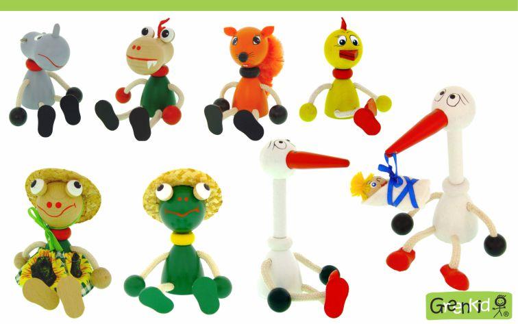 Dřevěné figurky Greenkid pro kluky i holky. Dřevěná zvířátka od Abafactory českého výrobce kvalitních dřevěných hraček a dekorací pro děti. Hroch - dráček - liška - kuře - žabka - čáp s miminkem.