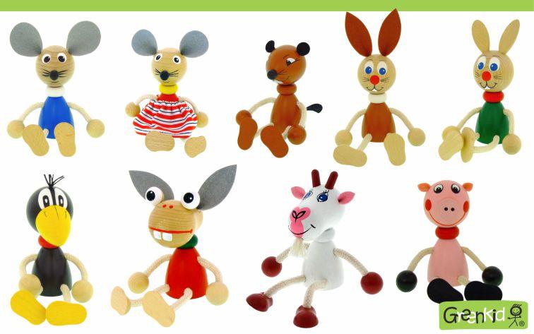 Dřevěná zvířátka - figurky Greenkid: myška - liška - zajíc - havran - kravička - prasátko. Dřevěné hračky a dekorace do dětského pokoje. Kvalitní a bezpečné výrobky od Abafactory.