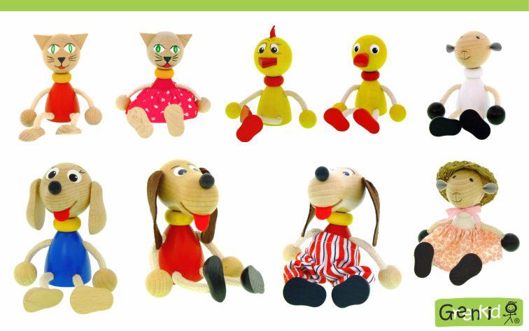 Dřevěné figurky Greenkid pro kluky i holky. Dřevěná zvířátka: kočička - kačer - kuřátko - ovečka od Abafactory českého výrobce kvalitních dřevěných hraček a dekorací pro děti.