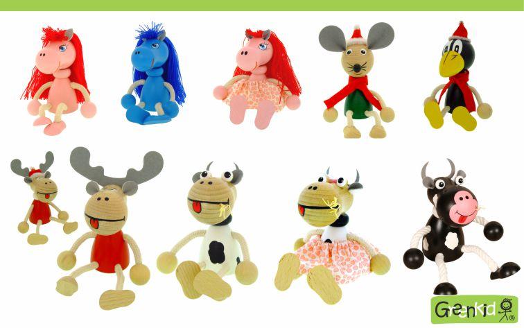 Dřevěná zvířátka - figurky Greenkid. Barevný poník - kravička - sob - myška - havran. Dřevěné hračky a dekorace do dětského pokoje. Kvalitní a bezpečné výrobky od Abafactory.