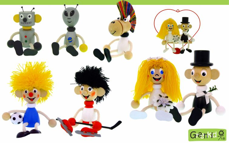Dřevěné figurky Greenkid: Robot - ufo - ženich a nevěsta - fotbalista - hokejista. Kvalitní dřevěná hračka a dekorace pro děti. Česká výroba bezpečných dřevěných hraček Abafactory.