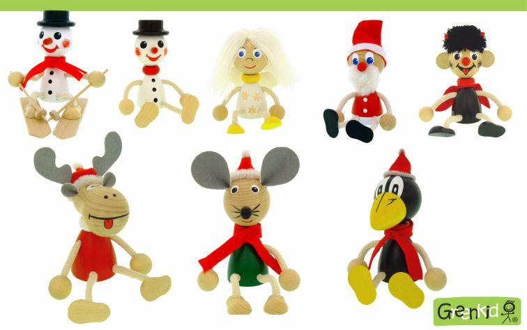 Dřevěné figurky Greenkid. Kvalitní dřevěná hračka a dekorace pro děti. Zvířátka a figurky - sněhulák na lyžích - anděl - Santa Claus - čertík - sob - myška - havran. Česká výroba bezpečných dřevěných hraček Abafactory.