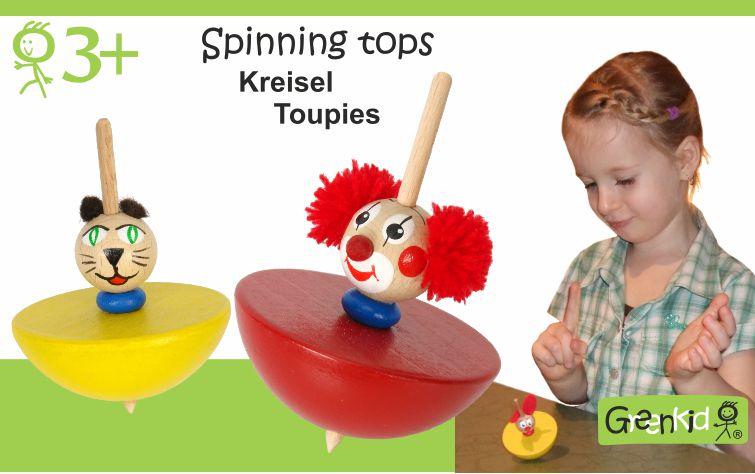 Roztáčecí káči. Veselá kočička a klaun značky Greenkid. Dřevěné hračky pro děti od 3 let. Vyrobeno v České republice.