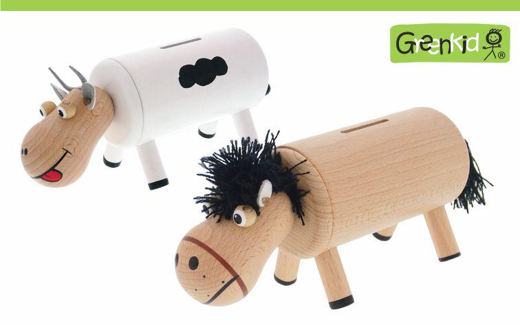 Greenkid dřevěné hračky a dekorace do dětského pokoje. Dřevěné pokladničky pro kluky i holky se zvířátky. Česká výroba kvalitních hraček Abafactory.