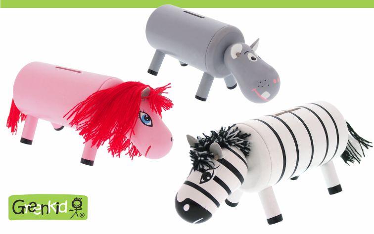 Dřevěné pokladničky Greenkid pro děti od jednoho roku. Originální dřevěné hračky a dekorace se zvířátky: poník-zebra-hroch od Abafactory českého výrobce kvalitních dřevěných hraček.