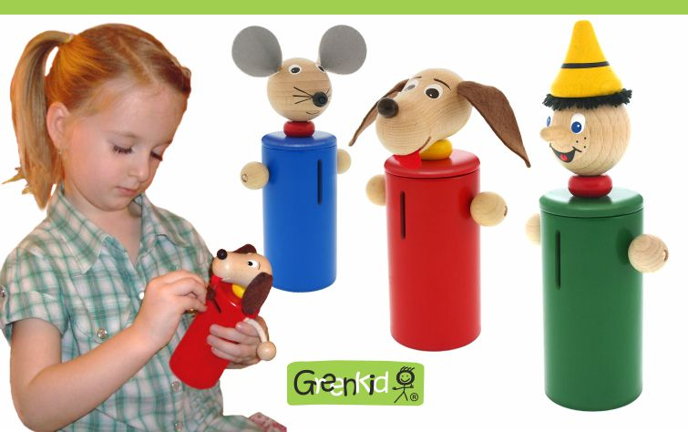 Greenkid dřevěné hračky a dekorace do dětského pokoje. Dřevěné pokladničky pro kluky i holky s originální ruční malbou s motivem zvířátka myška, pejsek, Pinochio. Česká výroba kvalitních hraček Abafactory.