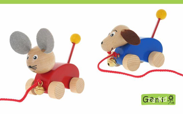 Dřevěná tahací zvířátka s rolničkou Greenkid - Pejsek a Myška od Abafactory českého výrobce kvalitních dřevěných hraček a dekorací pro děti.