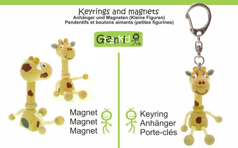 Dřevěné klíčenky a magnetky Greenkid. Dřevěná zvířátka a přátelské figurky pro děti i dospělé: Žirafa - klíčenka a magnetka. Abafactory - český výrobce kvalitních dřevěných hraček.