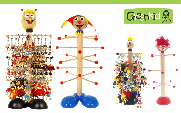 Dřevěné stojany na klíčenky a přívěšky Greenkid. Abafactory - český výrobce kvalitních dřevěných hraček.