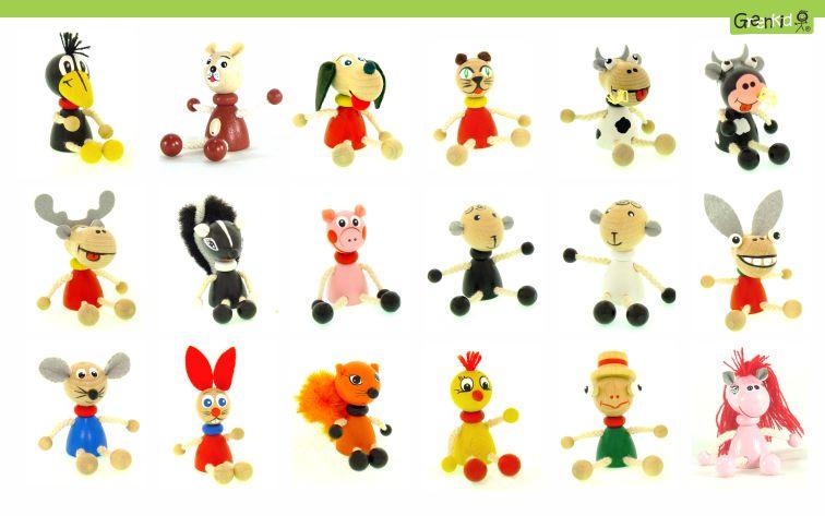 Dřevěná zvířátka - figurky Greenkid. Dřevěné hračky a dekorace do dětského pokoje. Kvalitní a bezpečné výrobky od Abafactory. Havran - pejsek - kočička - kravička - myška - prasátko - ovečka - zajíc - žabka.