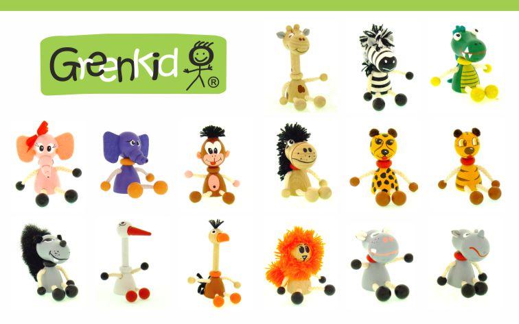 Dřevěná zvířátka - figurky Greenkid: žirafa - zebra - krokodýl - slon - opice - koník - gepard - tygr - lev - vlk - čáp - pštros - hroch. Dřevěné hračky a dekorace do dětského pokoje. Kvalitní a bezpečné výrobky od Abafactory.