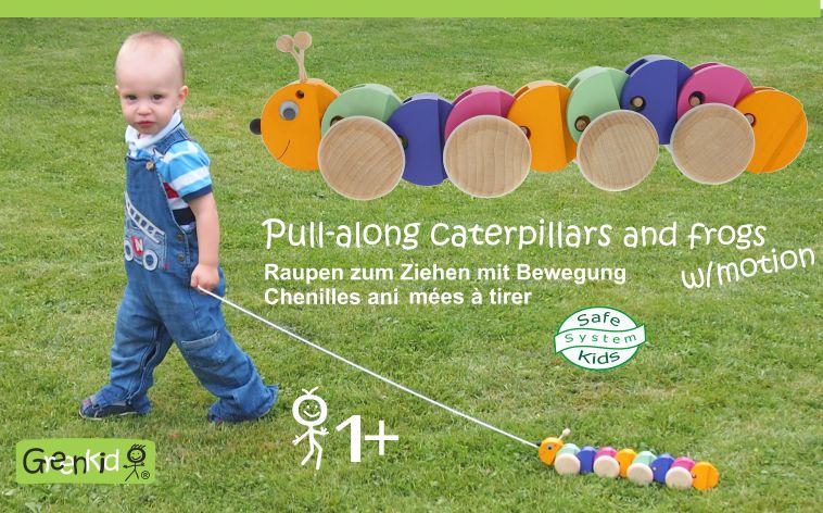 Tahací housenka - dřevěná hračka Greenkid pro děti od jednoho roku. Abafactory výrobce kvalitních a bezpečných českých dřevěných hraček s novým designem.
