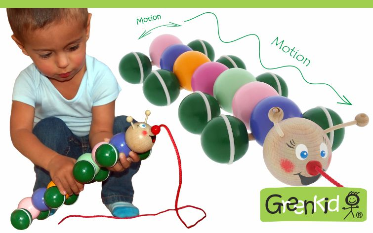 Tahací housenka - dřevěná hračka Greenkid. Abafactory výrobce kvalitních a pro děti bezpečných českých dřevěných hraček.