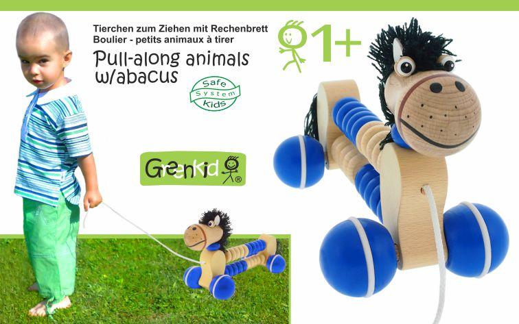 Dřevěná tahací zvířátka s počítadlem Greenkid. Dřevěný koník pro děti od jednoho roku - česká výroba kvalitních hraček Abafactory.