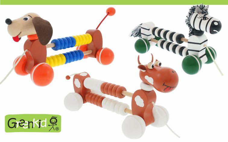 Tahací dřevěné hračky Greenkid. Zvířátka na kolečkách s počítadlem pro kluky a holky. Zebra-pejsek-kravička. Český výrobce kvalitních dřevěných hraček Abafactory.