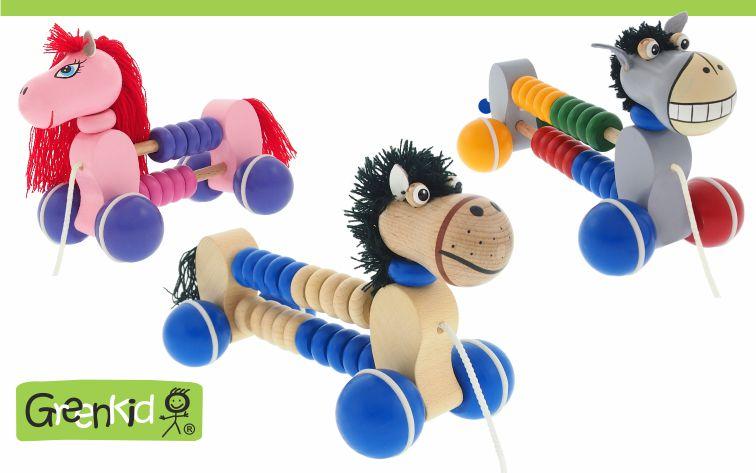 Dřevěná tahací zvířátka s počítadlem Greenkid - barevný poník a koník. Kvalitní a bezpečné dřevěné hračky pro kluky i holky originální česká výroba Abafactory.