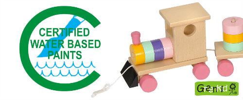 Kvalitní a bezpečné hračky Greenkid. Český výrobce dřevěných hraček Abafactory používá při výrobě vodou ředitelné certifikované barvy.